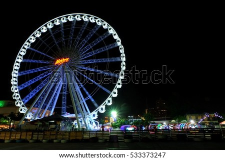 BANGKOK, THAILAND - DECEMBER 09: The Biggest Ferris wheel Landmark of Asiatique, Bangkok Thailand on December 09, 2016. Asiatique is the Bangkok night market, opened in May 2012.