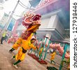 BANGKOK, THAILAND - FEB. 10 : Unidentified peoples played dragon dance for Chinese New Year on February 2013, 10 in Bangkok, Thailand - stock photo