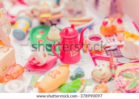 Bangkok,Thailand - February 16, 2016:Variety of miniature clay sweet and candy collection vintage.Re-ment toy japen.Soft Focus