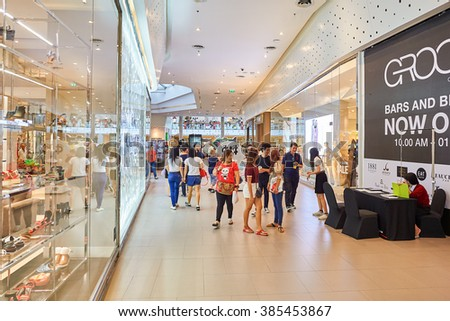 BANGKOK, THAILAND - JUNE 21, 2015: interior of shopping center in Bangkok. Shopping centers such as Siam Paragon, Central World Plaza, Emperium and Gaysorn become shopping Mecca for shopaholics