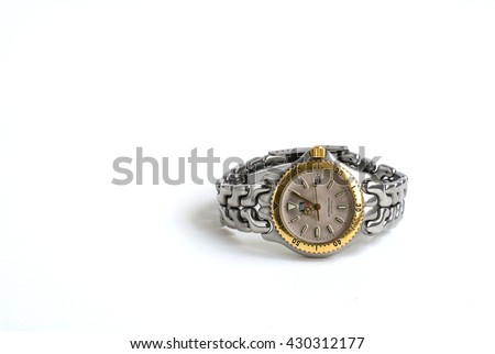BANGKOK , THAILAND - JUNE 2 : Old watch Tag Heuer . Taken at studio and isolated over white background on June 2, 2016 in Bangkok, Thailand.