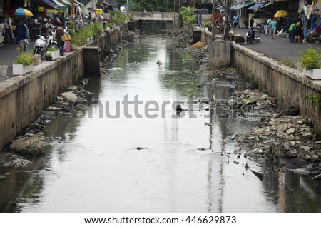 BANGKOK, THAILAND - JUNE 28 :  Wastewater and pollution and garbage in canal at  Sampeng plaza market on June 28, 2016 in Bangkok, Thailand