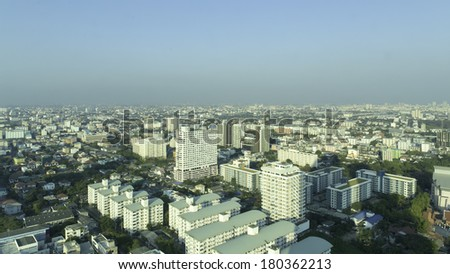 BANGKOK, THAILAND March 7: Bangkok skyline from bird eye view on March 7, 2014 in Bangkok , Thailand