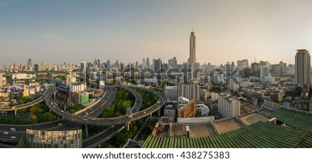 Bangkok,Thailand - MAY 1: Panorama view of Baiyok Tower II building and Express ways on may 1, 2016 in Bangkok, Thailand. Baiyok Tower II is the tallest building in Thailand with 328.4 m.