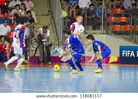 BANGKOK, THAILAND - NOV 1 : Unidentified players in FIFA Futsal World Cup thailand 2012 Between Thailand (B) VS Costa Rica (W) on November 1, 2012 at Indoor Stadium Huamark in Bangkok Thailand.