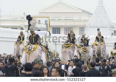 Bangkok, Thailand - November 8, 2016 : Mahouts, elephants pay respects to late King Bhumibol at the royal grand palace
