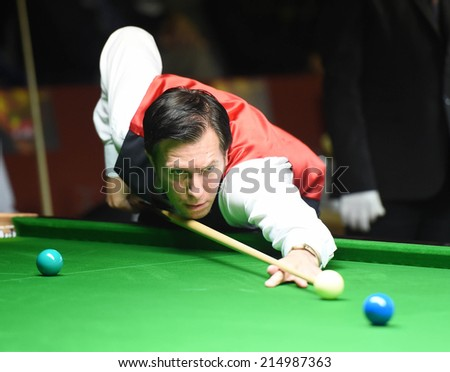 Bangkok, Thailand - SEP 4:Dominic Dale of Wales in action during Sangsom Six-red World Championship 2014 at Montien Riverside Hotel on September 4, 2014 in Bangkok, Thailand.