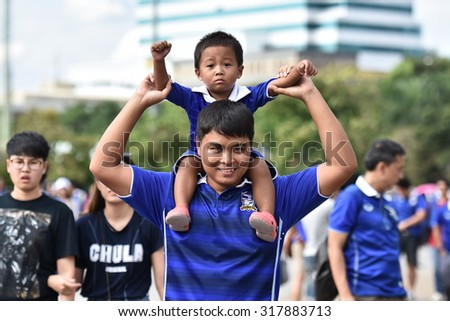 BANGKOK THAILAND SEP8:Unidentified fans of Thailand supporters during the Fifa World Cup Group F qualifying Match between Thailand and Iraq at Rajamangala Stadium on September 8,2015 in Thailand.