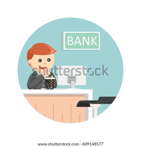 Female Bank Teller Circle Background Stock Illustration