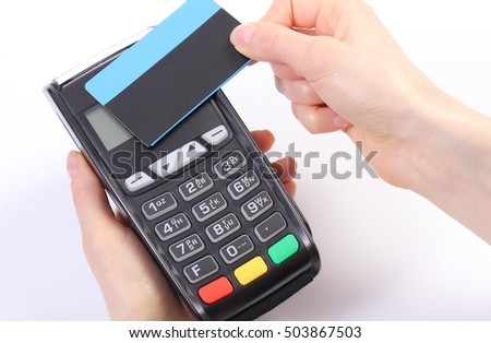 Banking and finance concept, Hand of woman using payment terminal with contactless credit card