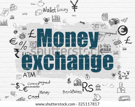 Banking concept: Painted blue text Money Exchange on White Brick wall background with Scheme Of Hand Drawn Finance Icons