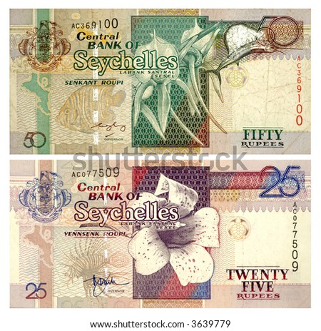 Banknotes of Seychelles isolated on white