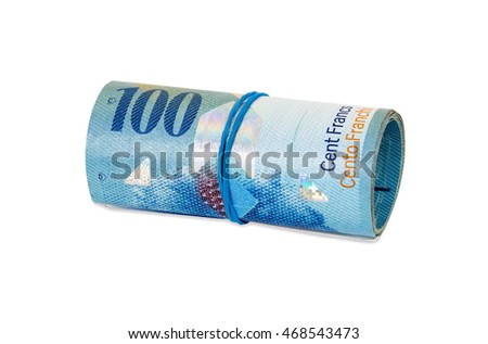Banknotes of 100 swiss franc rolled with rubber isolated on white background with clipping path