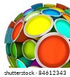 Banks of multicolored paint in sphere 3D rendering - stock photo