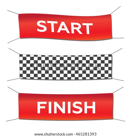 Banner set start finish illustration in flat style