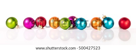 banner with christmas balls in front of a white background