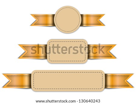 Banners made of leather. Tag labels. Design templates