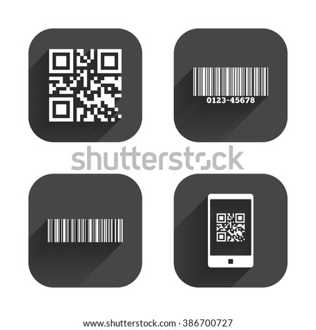 scan barcode in smartphone symbols square flat buttons with