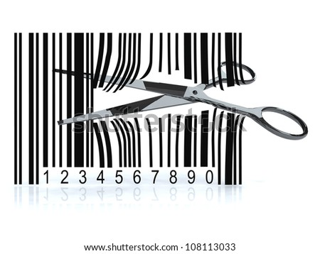 Bar code with 3d scissors that cut, on white background