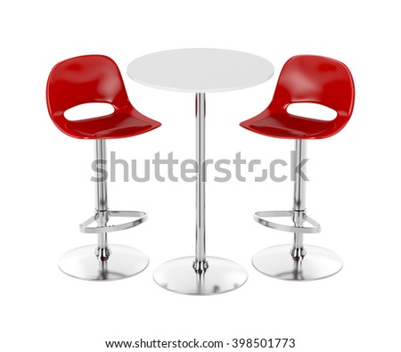 Bar table and stools on white background, 3D illustration