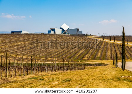 BARBASTRO, HUESCA, SPAIN - MARCH 23: Office building of the Sommos Bodega winery in Spain. Somontano wine region.