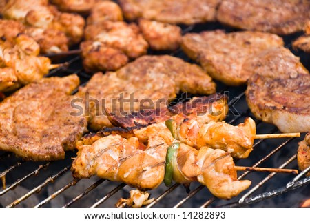 barbecue with mixed meat