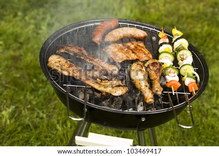 Barbeque in the garden, really tasty dinner!