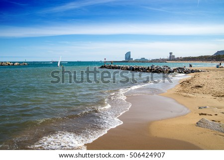 Barcelona Beach with blue sky on sunny day.