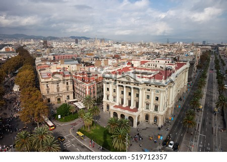 Barcelona cityscape in Catalonia, Spain, view above the city centre, Passeig de Colom avenue (right), La Rambla street (left).