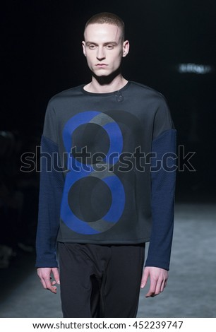 BARCELONA - FEBRUARY 01: a model walks on the Miquel Suay catwalk during the 080 Barcelona Fashion runway Fall/Winter 2016 on February 01, 2016 in Barcelona, Spain.