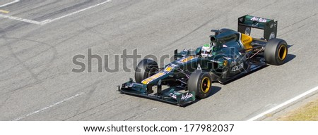 BARCELONA - FEBRUARY 24: Heikki Kovalainen of Caterham F1 team racing at Formula One Teams Test Days at Catalunya circuit on February 24, 2012 in Barcelona, Spain.