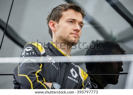 BARCELONA - FEBRUARY 23: Jolyon Palmer of Renault F1 Team at Formula One Test Days at Catalunya circuit on February 23, 2016 in Barcelona, Spain.