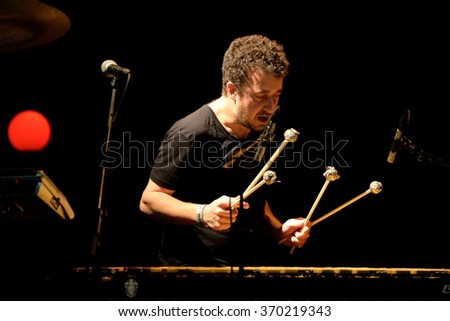 BARCELONA - JAN 29: The xylophone player of The New Raemon (Spanish band) in concert at Apolo stage on January 29, 2016 in Barcelona, Spain.