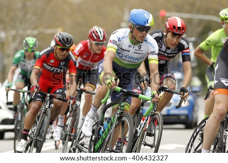 BARCELONA - MARCH, 27: Simon Gerrans of Orica GreenEDGE Team rides during the Tour of Catalonia cycling race through the streets of Monjuich mountain in Barcelona on March 27, 2016