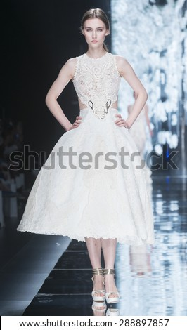 BARCELONA - MAY 06: a model walks on the Yolancris bridal collection 2016 catwalk during the Barcelona Bridal Week runway on May 06, 2015 in Barcelona, Spain.