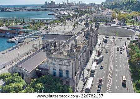 BARCELONA, OCT 16, 2014: Aerial view from above of the Barcelona, Spain Port from Plaza de Colon