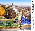 Barcelona park Guell fairy tale mosaic house on entrance - stock photo