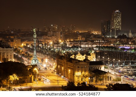 Barcelona skyline and cityscape by night, city centre