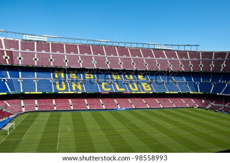 BARCELONA SPAIN:AUGUST 27-Camp Nou stadium the home of the highly successful football team FC Barcelona .August 27 2011