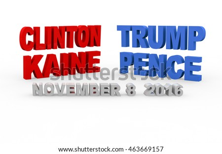 BARCELONA, SPAIN - August 04, 2016: 3d render with the name of the candidates for to be the next president and vice president of the United States and the elections day on a white background.