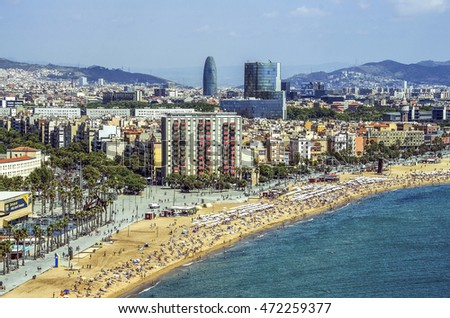 BARCELONA, SPAIN - 5 August 2016 - View of Salou Platja Llarga Beach in Spain from the last floor of a coast building in Barcelona