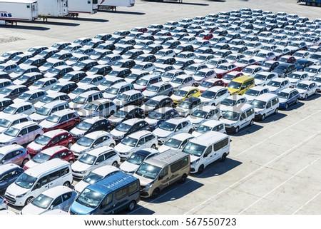 New Cars Ready Ship Port Barcelona Stock Photo 567550786