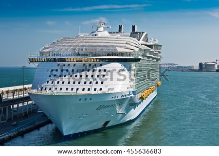 BARCELONA, SPAIN - JUNE 7, 2016:  Royal Caribbean's, Harmony of the Seas, is now the largest ship in the world, with a gross tonnage of 226,963.