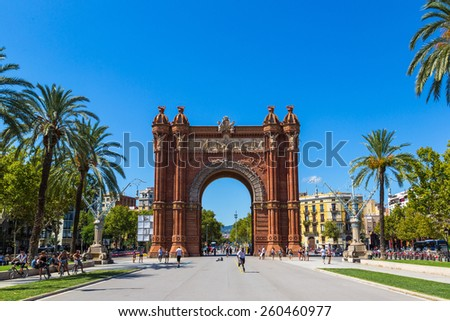 BARCELONA, SPAIN - JUNE 11: Triumph Arch of Barcelona in a summer day in Barcelona, Spain