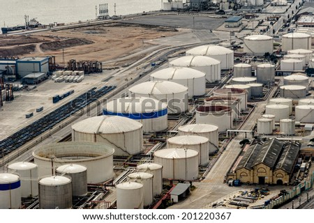 BARCELONA, SPAIN - MARCH 04, 2012: Liquid natural gas storage tanks located at the commercial docks on March 04, 2012 in Barcelona.
