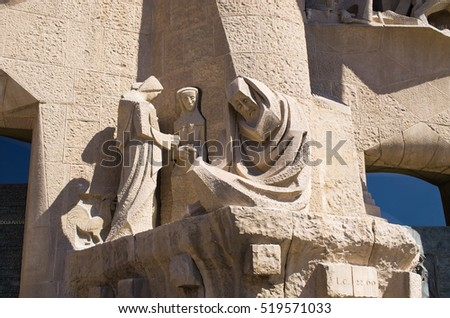Barcelona, Spain - March 03, 2016: Statues of Sagrada Familia church. Designed by Catalan architect Antoni Gaudi. Building began in 1882 and expected finish date is 2026.