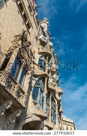 Barcelona, Spain. - March 20, 2014: The facade of the Casa Battlo (house of bones) designed by Antoni Gaudi.