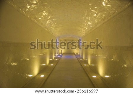 BARCELONA, SPAIN, OCTOBER 24, 2014: Detail of interior of one of many pavilions inside of the historical complex of former monastery and hospital -  Hospital de la Santa Creu i Sant Pau