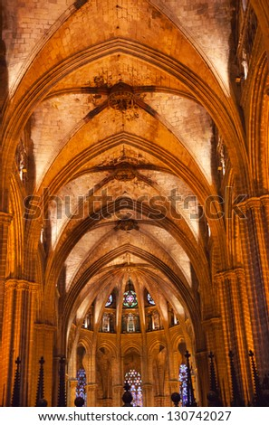 BARCELONA, SPAIN--OCTOBER 19, : Gothic Catholic Barcelona Cathedral Basilica Stone Columns Arches in Catalonia, Barcelona, Spain on October 19, 2012.  Cathedral built in 1298.