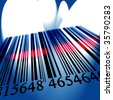 Barcode fading into the distance on a blue background - stock photo